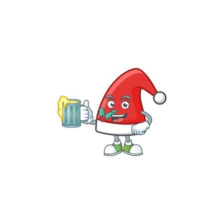 Happy santa claus hat holding a glass of beer Illustration