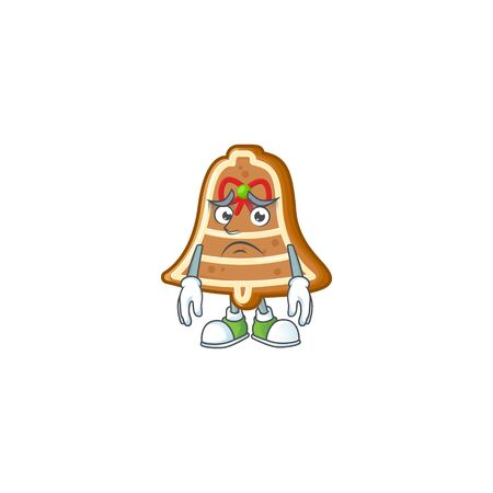 Bell cookies Cartoon character showing afraid look face