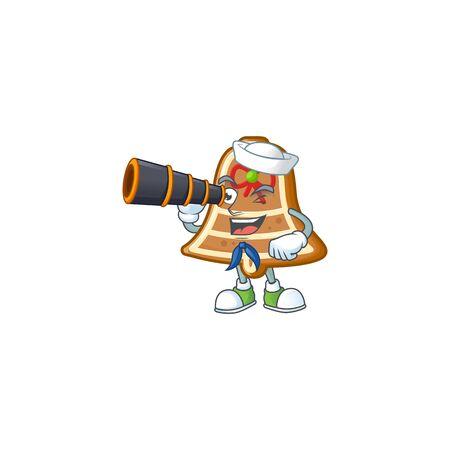 Smiling happy Sailor with binocular bell cookies cartoon design. Vector illustration