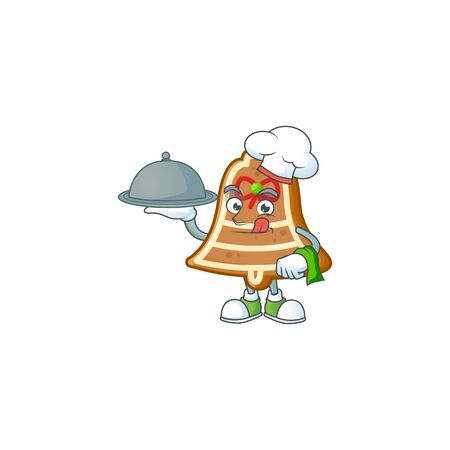 smiling bell cookies as a Chef with food cartoon style design. Vector illustration Çizim