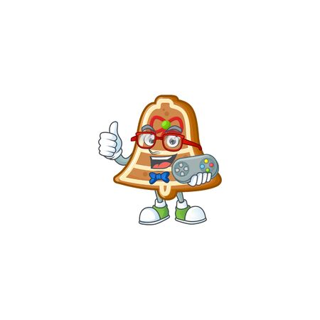 cute geek gamer bell cookies cartoon character style. Vector illustration