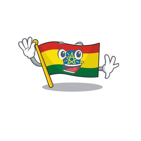 Waving cute smiley flag ethiopia cartoon character style. Vector illustration Vettoriali