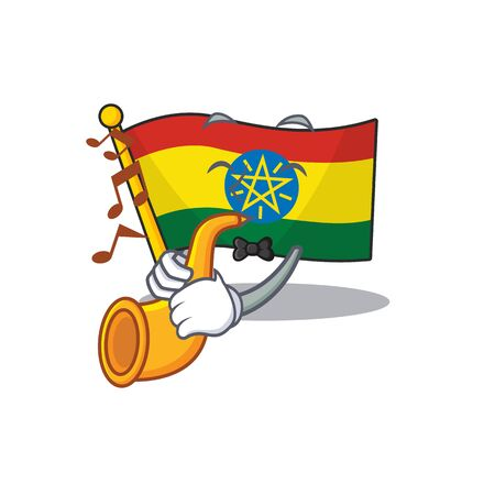 Super cool flag ethiopia cartoon character performance with trumpet