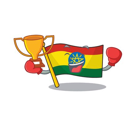 Super cool Boxing winner flag ethiopia in mascot cartoon style. Vector illustration Archivio Fotografico - 134520170