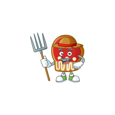 Farmer gloves cookies cartoon character with hat and tools. Vector illustration