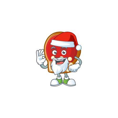 Gloves cookies in Santa cartoon character design. Vector illustration
