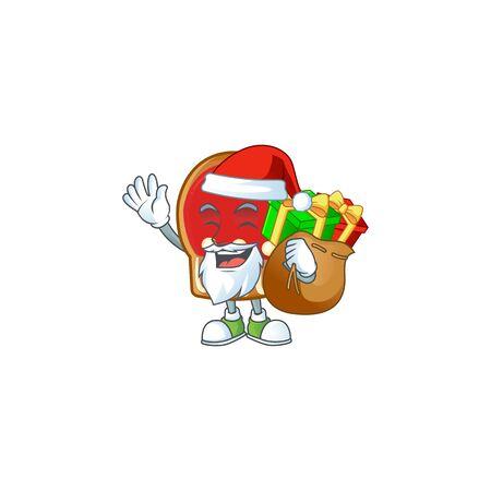Santa with gift bag gloves cookies Cartoon character design. Vector illustration