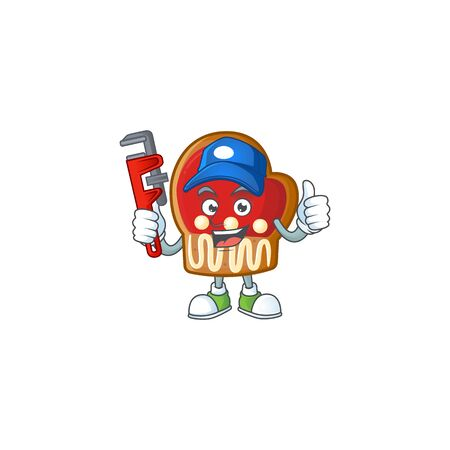 Plumber gloves cookies on cartoon character mascot design. Vector illustration