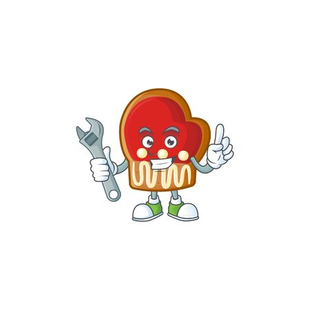 Professional Mechanic gloves cookies mascot cartoon character style. Vector illustration