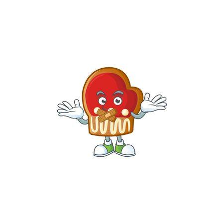 Gloves cookies mascot cartoon character style making silent gesture Çizim