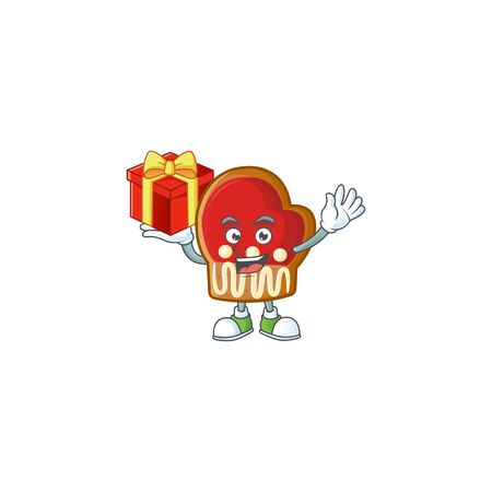 Mascot of gloves cookies character up a gift Foto de archivo - 134541130