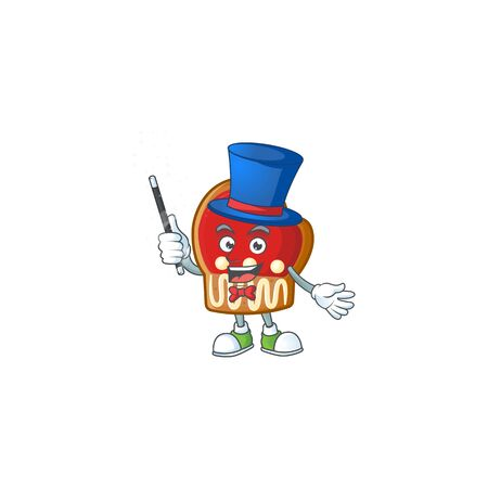 Cartoon character of gloves cookies Magician style. Vector illustration Çizim