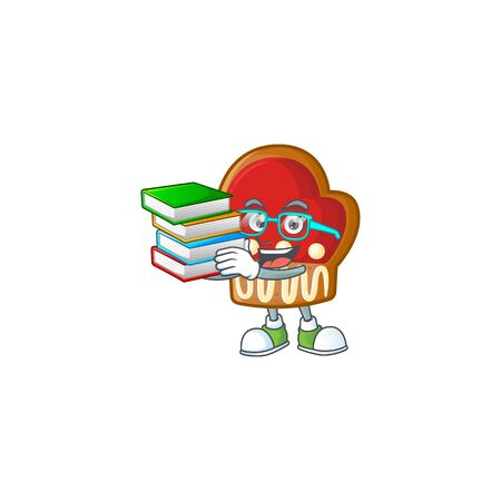 Student with book gloves cookies mascot cartoon character style