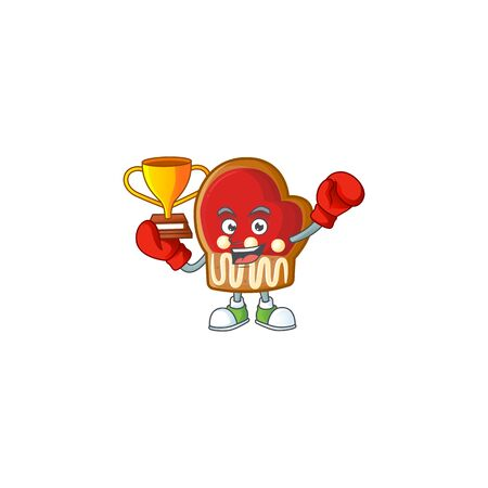 Super cool Boxing winner gloves cookies in mascot cartoon style Archivio Fotografico - 134541131