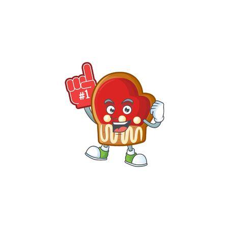 Foam finger gloves cookies on mascot cartoon style. Vector illustration