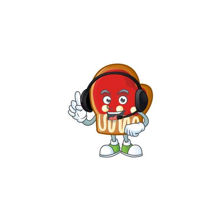 Gloves cookies cute cartoon character design with headphone. Vector illustration