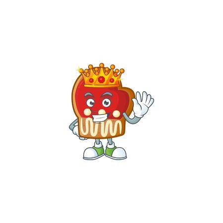 King of gloves cookies on cartoon mascot style design Çizim