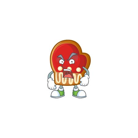 Mascot of angry gloves cookies cartoon character design