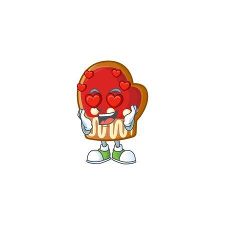 Falling in love happy cute gloves cookies cartoon design Çizim