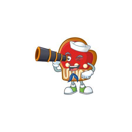 Smiling happy Sailor with binocular gloves cookies cartoon design. Vector illustration