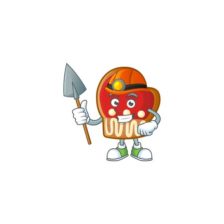 Cool Miner gloves cookies cartoon mascot design style. Vector illustration