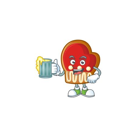 Happy gloves cookies holding a glass of beer. Vector illustration