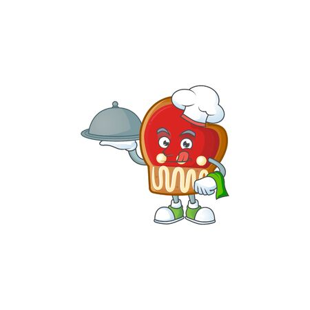 smiling gloves cookies as a Chef with food cartoon style design Çizim