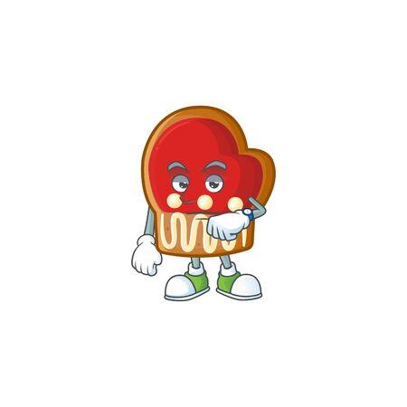 Waiting gloves cookies on cartoon mascot style design. Vector illustration