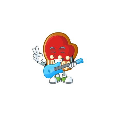 Super cool gloves cookies cartoon character performance with guitar. Vector illustration Çizim