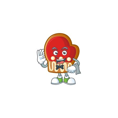Gloves cookies Character on A stylized Waiter look. Vector illustration