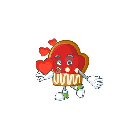 With heart gloves cookies cartoon character mascot style. Vector illustration