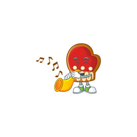 Super cool gloves cookies cartoon character performance with trumpet