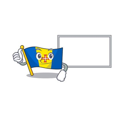 Flag madeira cute cartoon character Thumbs up with board. Vector illustration Illustration