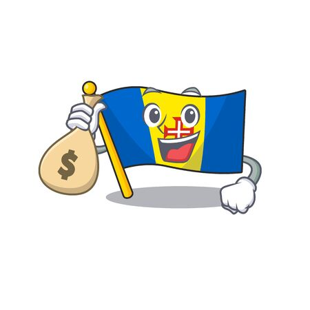 Cute flag madeira cartoon character smiley with money bag