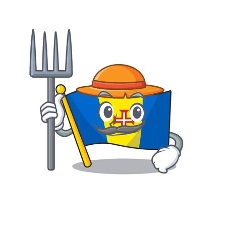 Farmer flag madeira cartoon character with hat and tools. Vector illustration