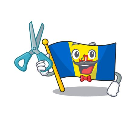Happy Barber flag madeira mascot cartoon character style. Vector illustration