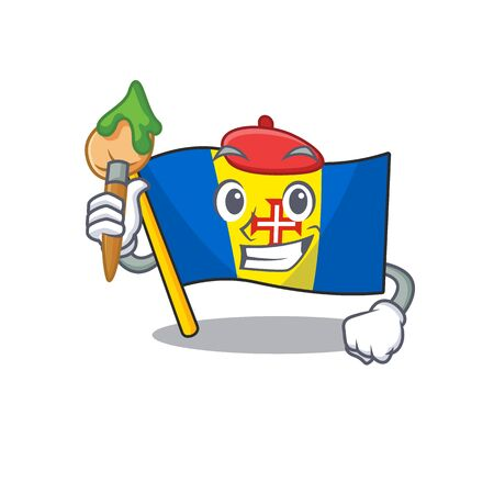 Cheerful flag madeira Artist cartoon character with brush. Vector illustration