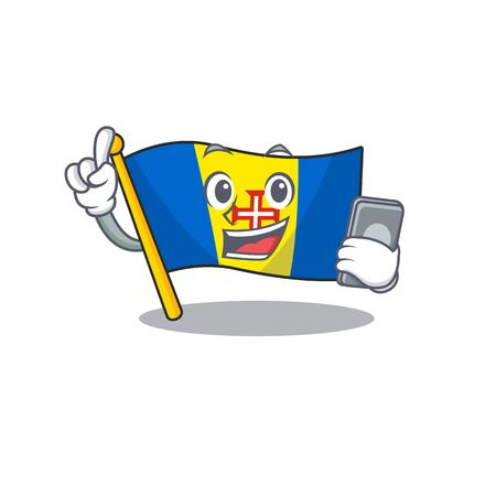 mascot cartoon style of flag madeira speaking with phone. Vector illustration