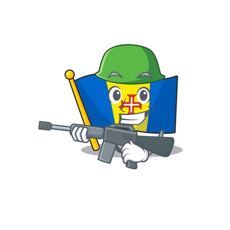 A cartoon style of flag madeira Army with machine gun