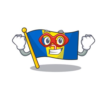 A cartoon of flag madeira wearing costume of Super hero