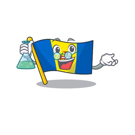 Smart Professor flag madeira cartoon character holding glass tube. Vector illustration Illustration
