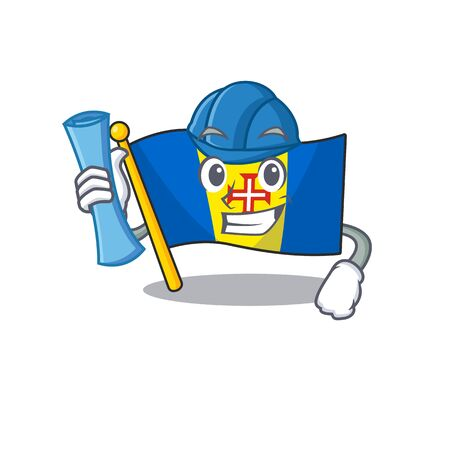 Cheerful Architect flag madeira cartoon style holding blue prints