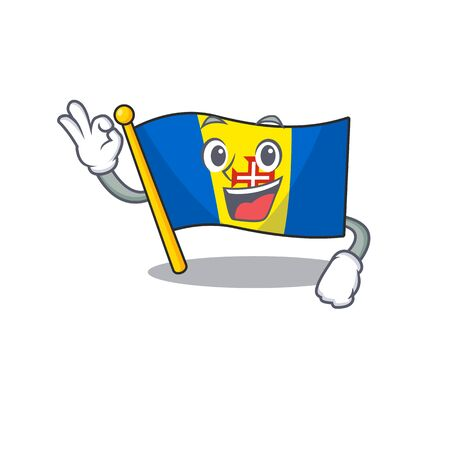 Sweet flag madeira cartoon character making an Okay gesture. Vector illustration