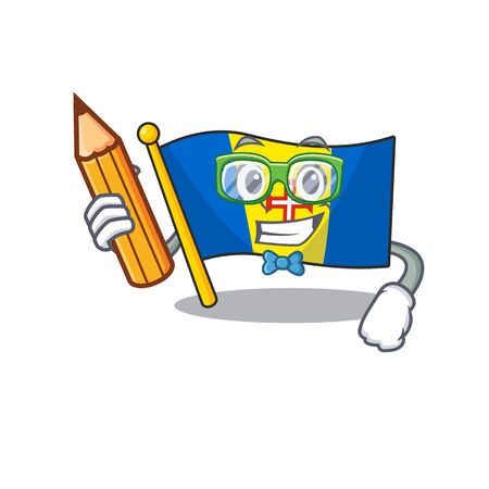 Cool smart Student flag madeira character holding pencil. Vector illustration