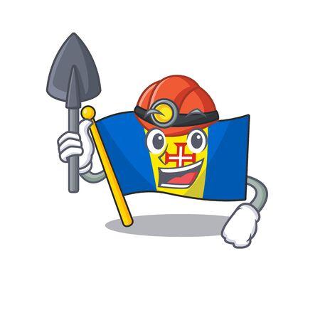 Cool Miner flag madeira of cartoon mascot style. Vector illustration