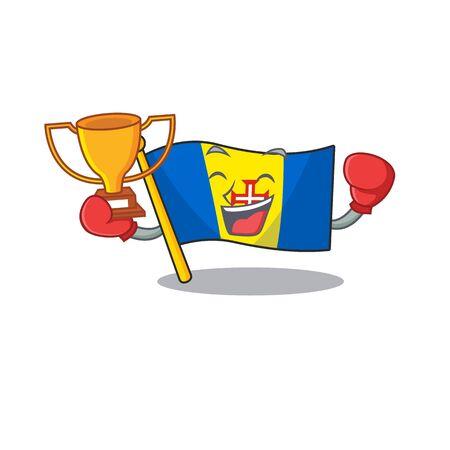Super cool Boxing winner flag madeira in mascot cartoon style. Vector illustration Archivio Fotografico - 134523384