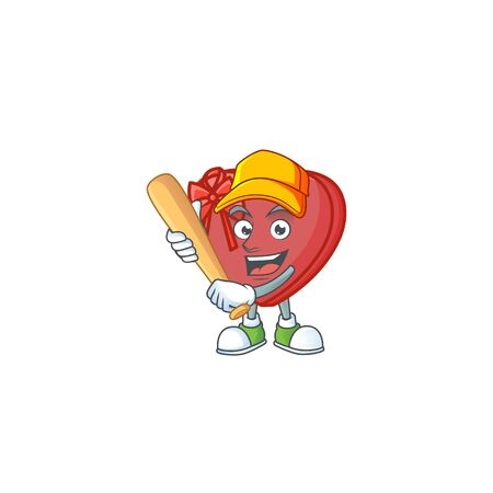 Funny smiling love gift box cartoon mascot playing baseball. Vector illustration