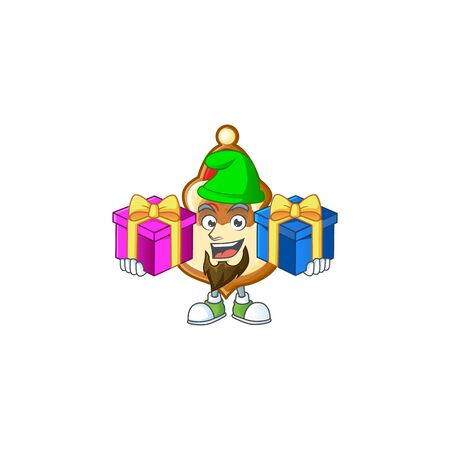 Super cute christmas hat cookies cartoon design with Christmas gifts. Vector illustration Foto de archivo - 134651547