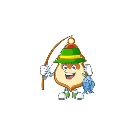 Happy smiley funny Fishing christmas hat cookies design. Vector illustration 일러스트