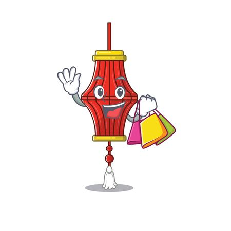Cheerful chinese paper lanterns cartoon character waving and holding Shopping bag. Vector illustration